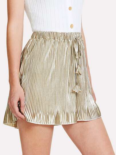 Metallic Pleated Drawstring Shorts