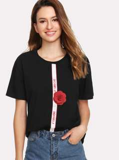 Printed Tape & Flower Applique T-shirt