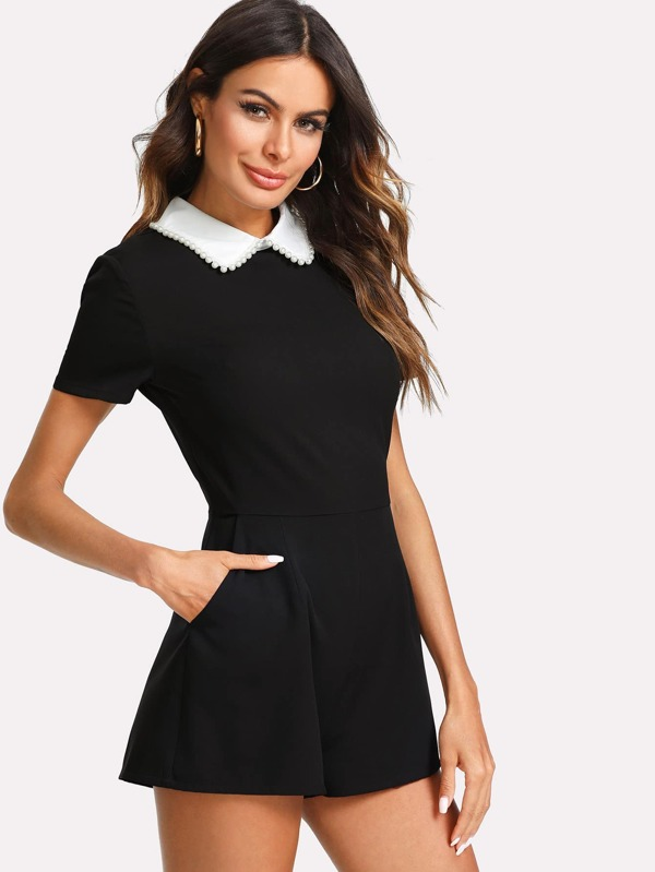 Pearl Detail Contrast Collar Zip Back Romper by Shein