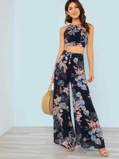 Floral Print Tie Back Crop Top with Matching Palazzo Pants NAVY