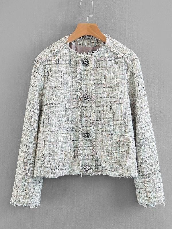 Frayed Edge Tweed Blazer rhinestone detail frayed edge tweed skirt
