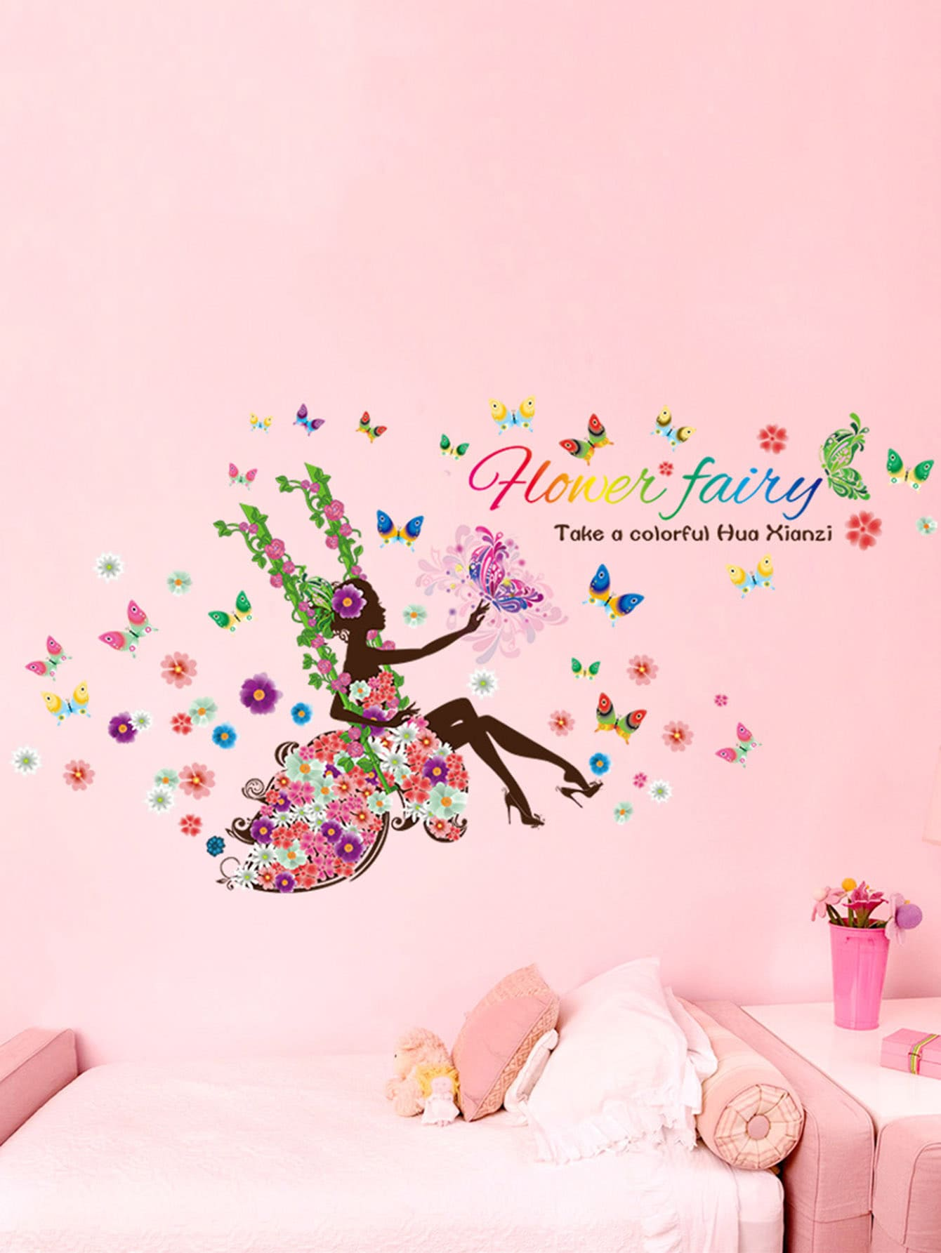 Flower & Fairy Wall Sticker fluorescence creative fairy stars luminous switch wall sticker