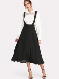 Thick Strap Pinafore Skirt