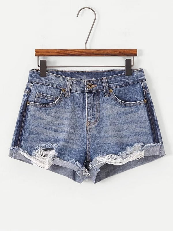 Destructed Cuffed Denim Shorts frill trim cuffed denim shorts