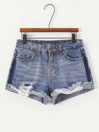Destructed Cuffed Denim Shorts