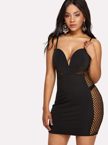 Mesh Contrast Slip Dress