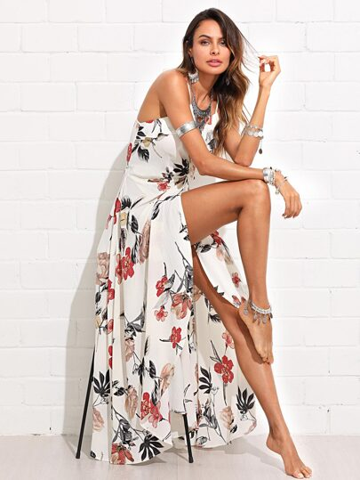 Flower Print Ruffle Embellished Wrap Cami Dress