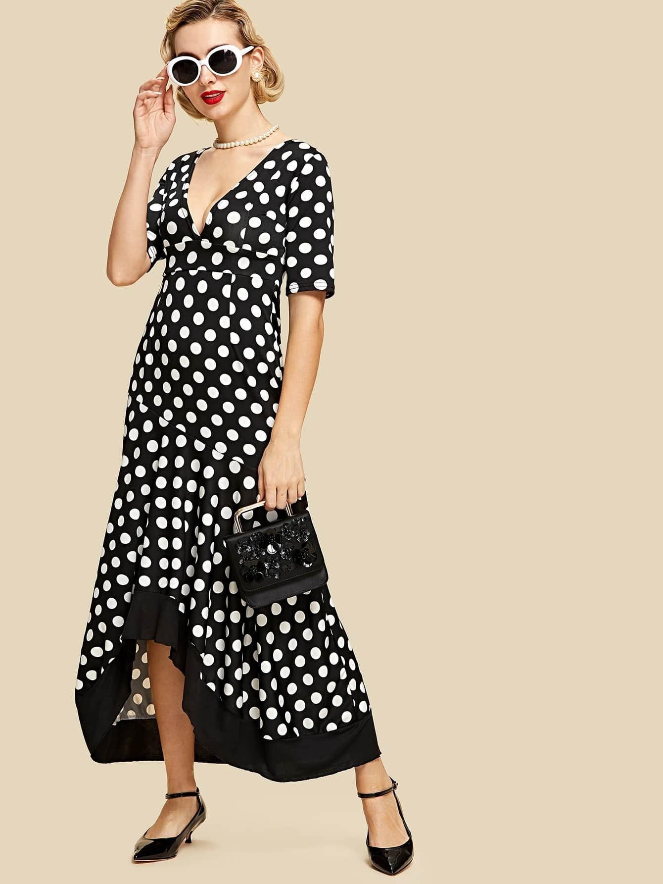 Double V Neck Contrast Dip Hem Dress cowl neck dip hem swing dress