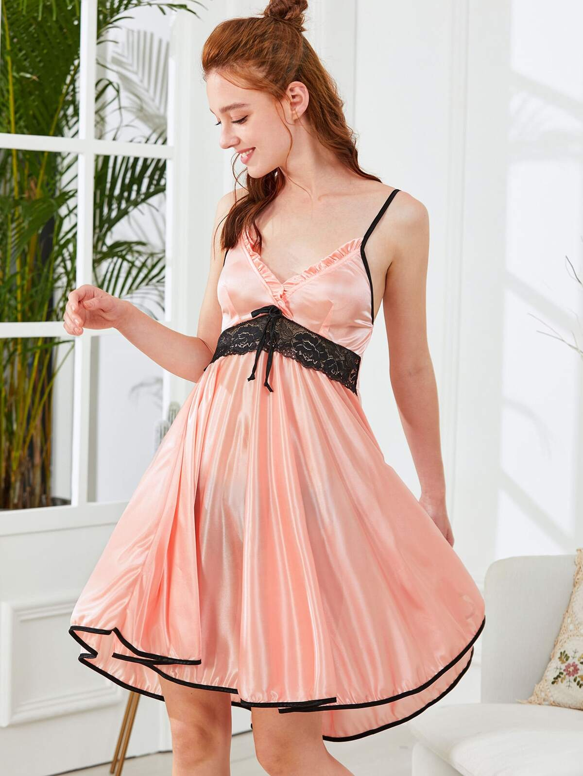 對比色 裝飾 蕾絲 拼接 無袖女用胸衣 洋裝