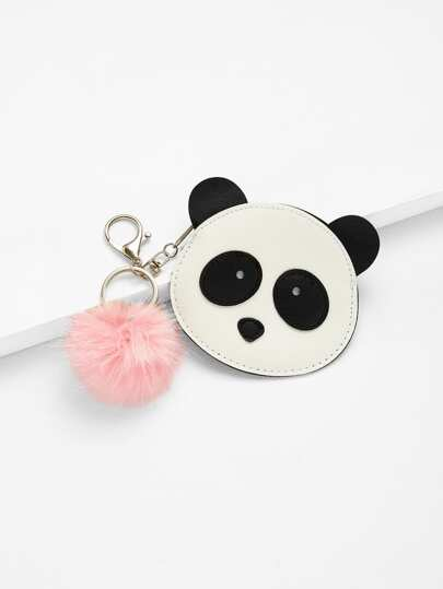 Pom Pom Decor Panda Wallet
