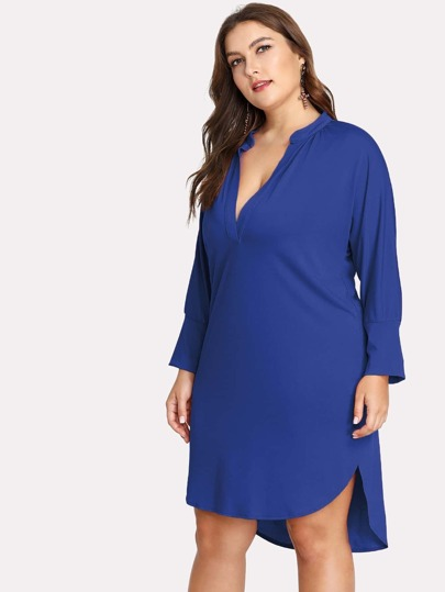 V Placket Dip Hem Tunic Dress