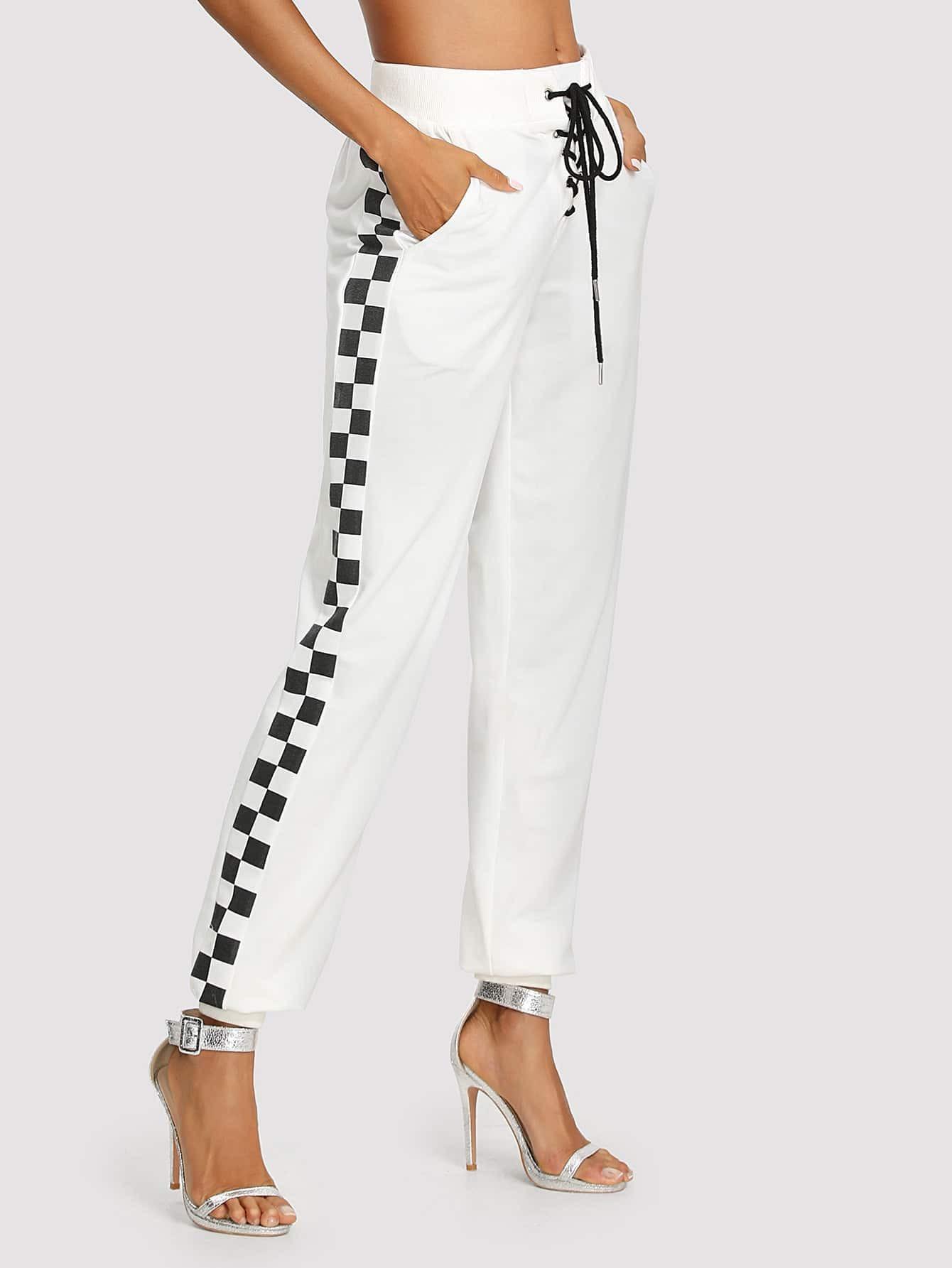 Side Plaid Print Lace Up Front Pants пуховики puma пуховик style 480 hd down jacket