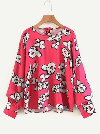 Button Back Florals Blouse