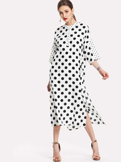 High Low Belted Polka Dot Hijab Long Dress
