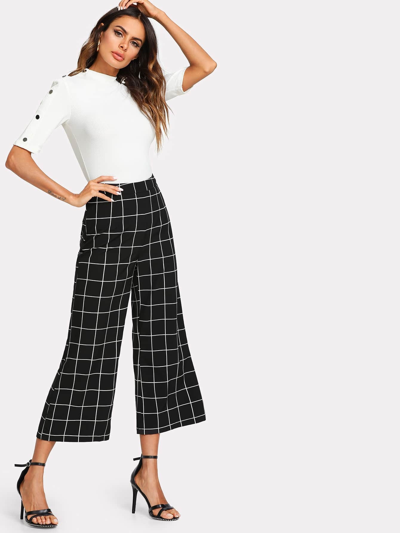 Wide Leg Grid Crop Pants wide leg grid crop pants