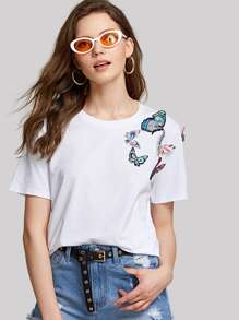 Embroidered Butterfly Embellished T-shirt