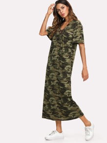 Lace Up Camouflage Longline Dress