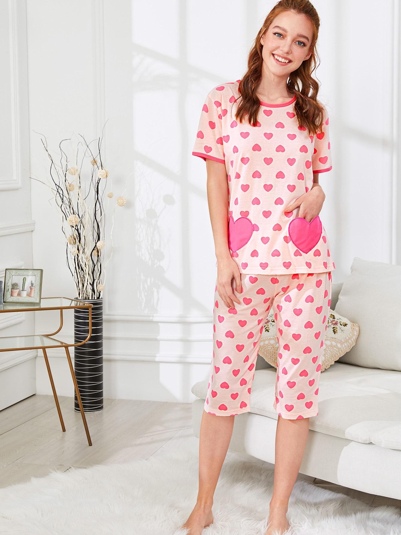 Heart Print Tee & Pants PJ Set exmork 100 вт 12 в poly si