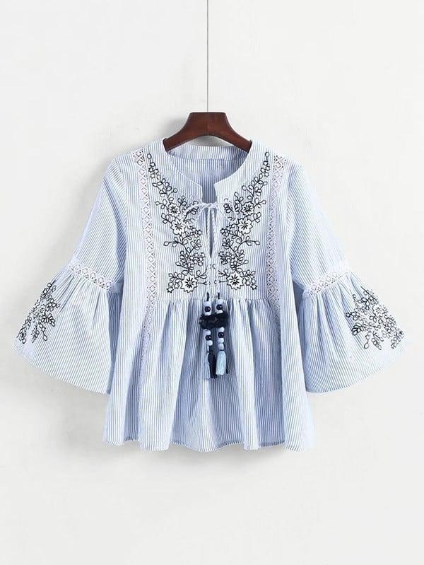 Купить Вышивка из кружевной панели Полосатая блузка Babydoll, null, SheIn
