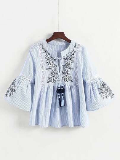 Lace Panel Embroidery Striped Babydoll Blouse