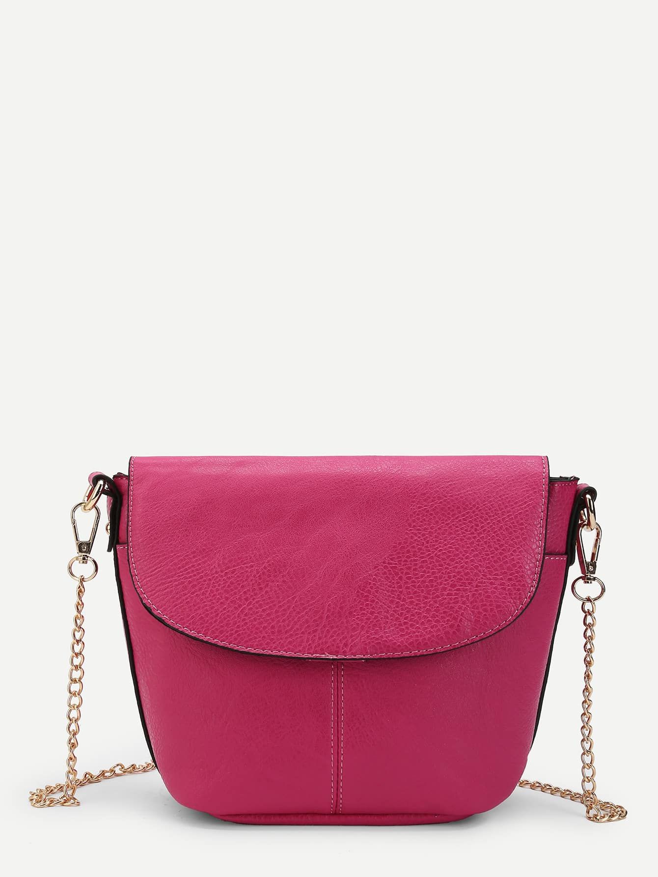PU Flap Shoulder Bag With Chain Strap flap pu chain bag