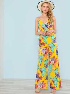 Surplice Floral Print Wide Leg Jumpsuit YELLOW MULTI