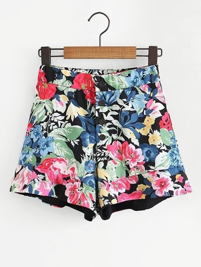 Button Front Florals Shorts