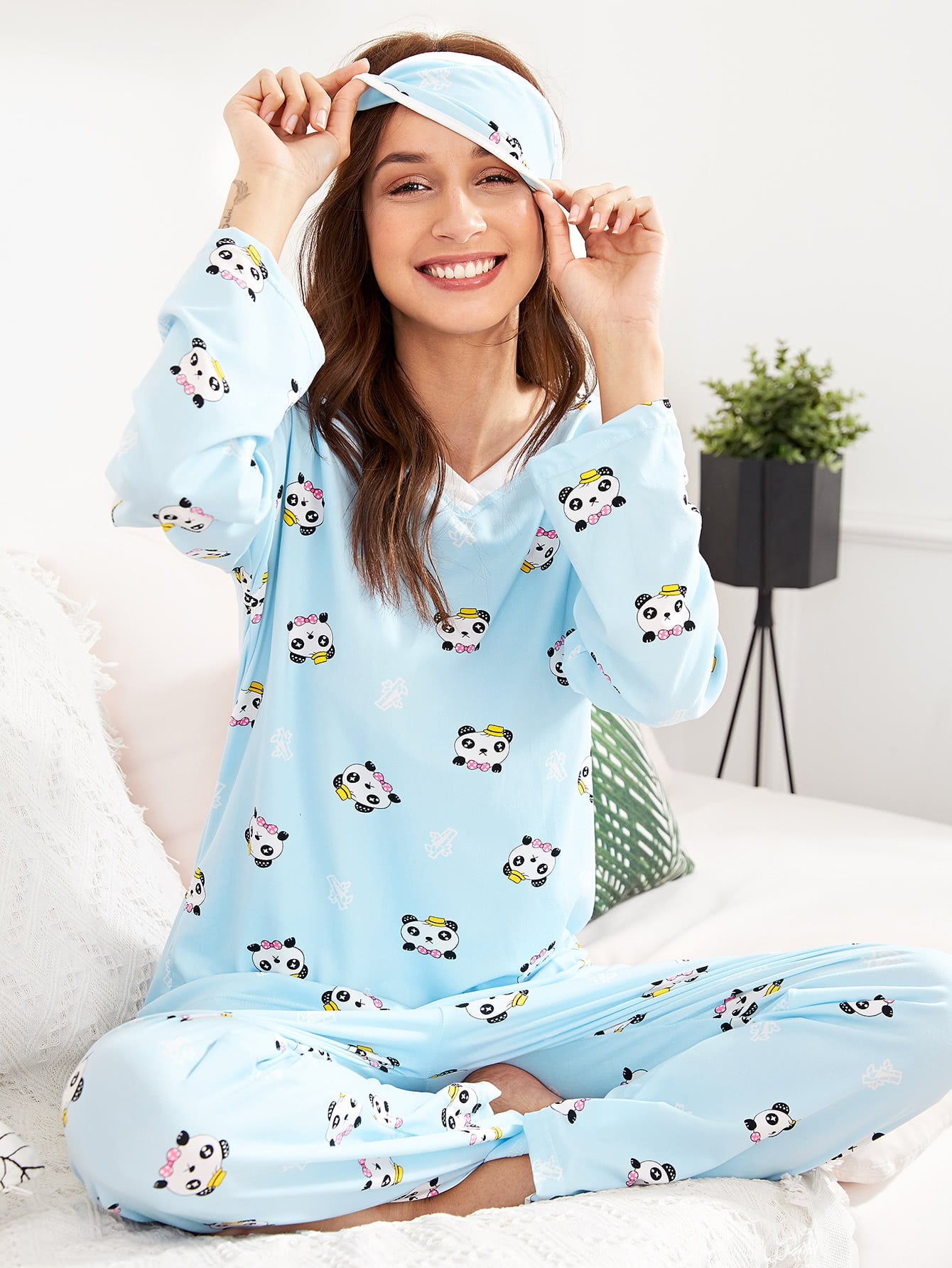 Panda Print Pajama Set With Eye Mask цена и фото