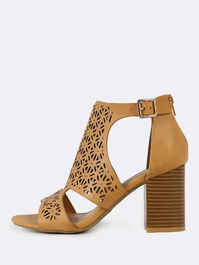 Perforated Caged Band Chunky Heel NATURAL