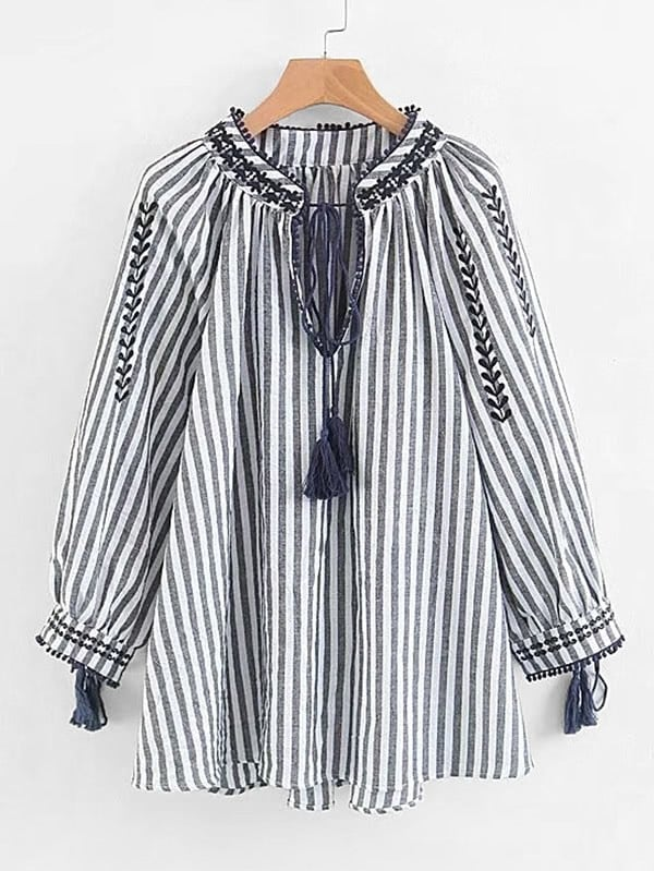 Contrast Stripe Tassel Tie Blouse tassel tie striped blouse