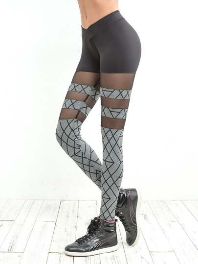 Abstract Stripe Print Mesh Panel Leggings