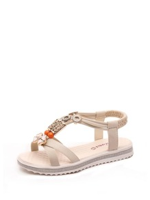 Beaded Cross Strap Flat Sandals