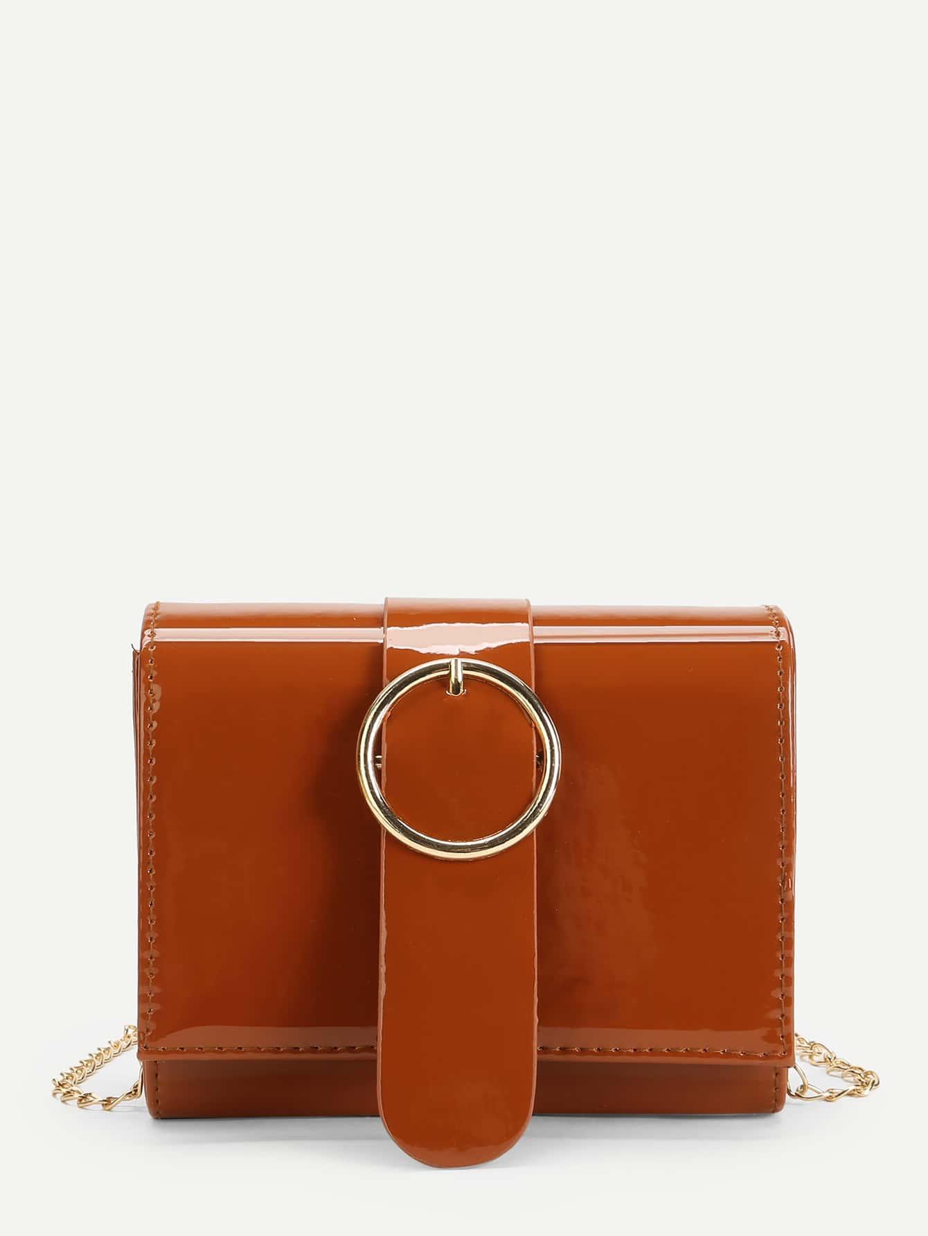 Buckle Decor Patent Leather Shoulder Bag