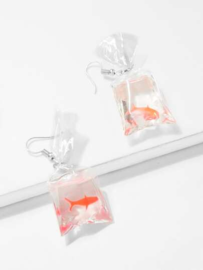 Fish Pattern Crystal Drop Earrings