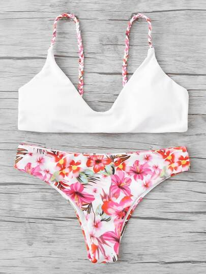 Braided Straps Calico Print Bikini Set