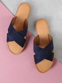Faux Suede Criss Cross Strap Slide Sandal NAVY