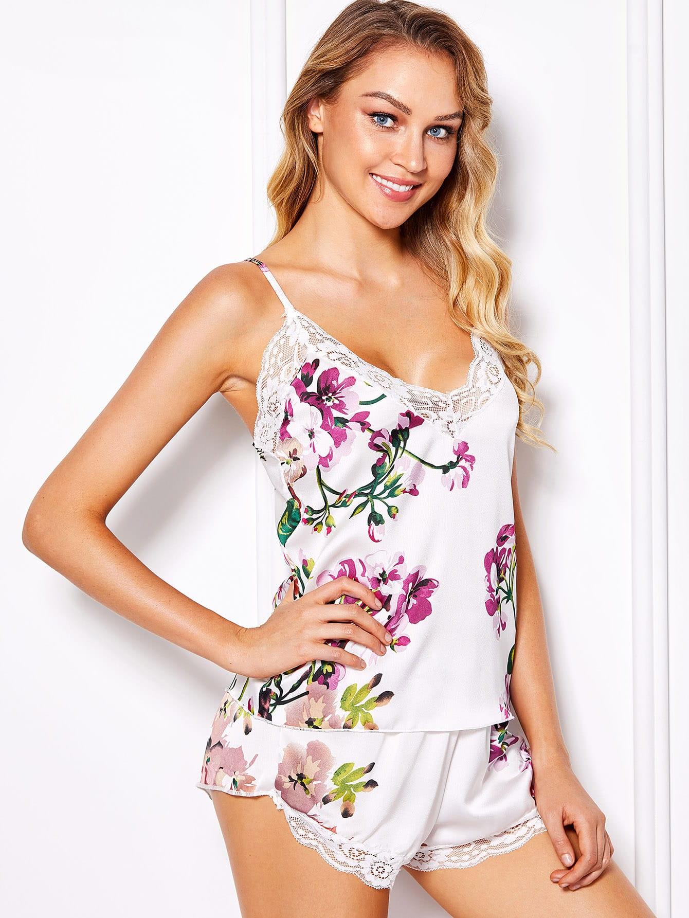 Flower Print Cami Top & Shorts Pajama Set flower applique mesh cami top and panty pajama set