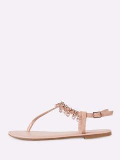 Bejeweled T-Strap Flat Sandal NUDE
