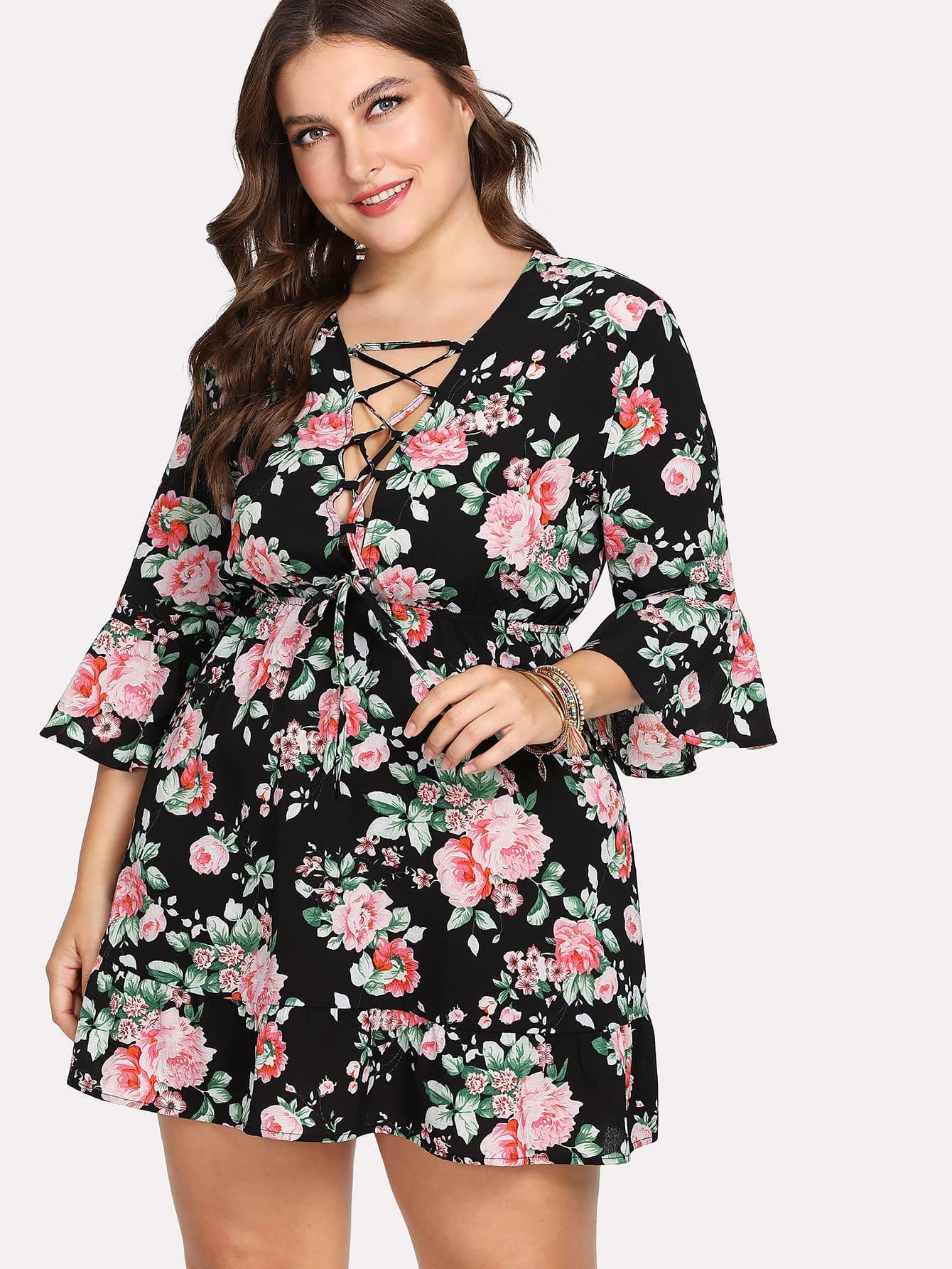 Купить Платье крест-накрест с широкими рукавами в цветочек, Franziska, SheIn