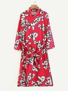 Self Tie Slit Side Florals Dress
