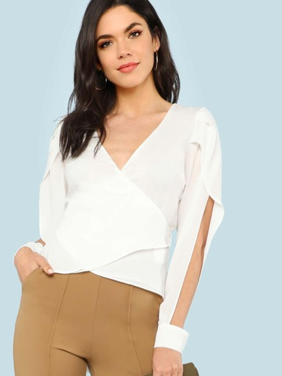 Slit Sleeve Tie Waist Blouse OFF WHITE
