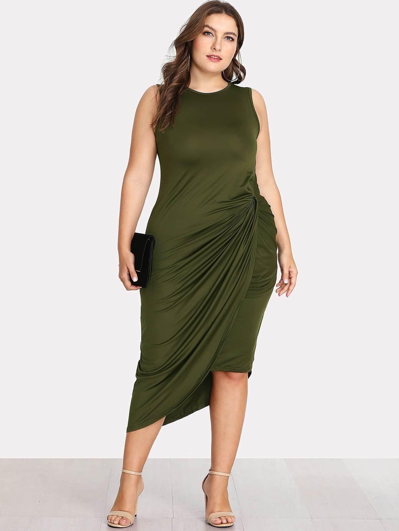 Asymmetrical Hem Twist Side Dress