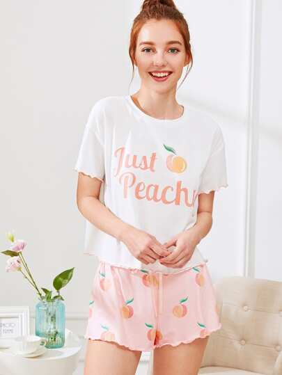 Fruit Print Lettuce Edge Tee And Shorts PJ Set