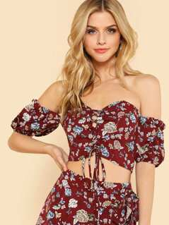 Lace Up Front Floral Bardot Top