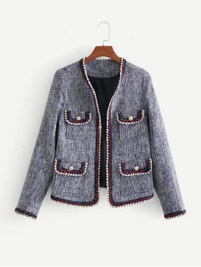 Contrast Trim Tweed Blazer