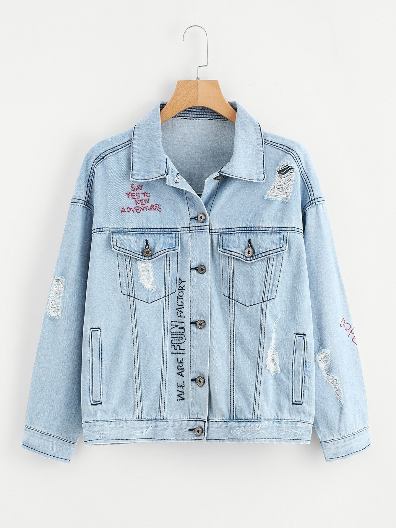 Letter Embroidered Stitch Detail Ripped Denim Jacket ripped stitch detail denim jacket