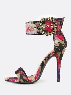 Flower Print Single Band Stiletto Heel with Rhinestone Embellished Buckle BLACK MULTI