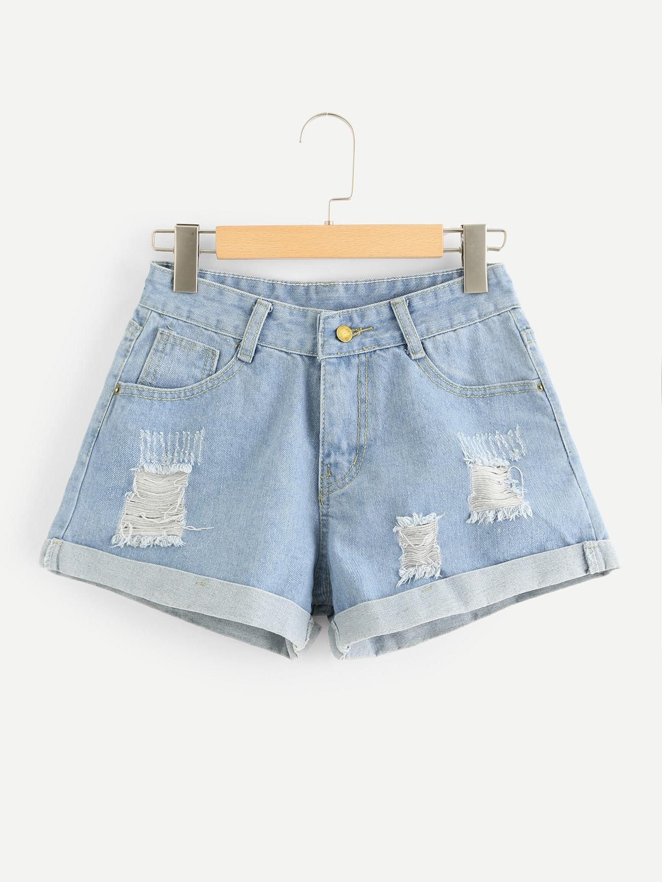 Рваные джинсовые шорты SheIn