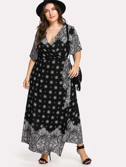 Ornate Print Surplice Wrap Dress