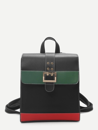 Buckle Detail Color Block Satchel Backpack